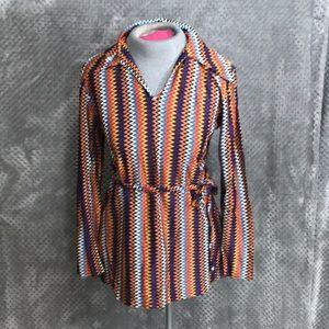 Vintage union label zig zag blouse